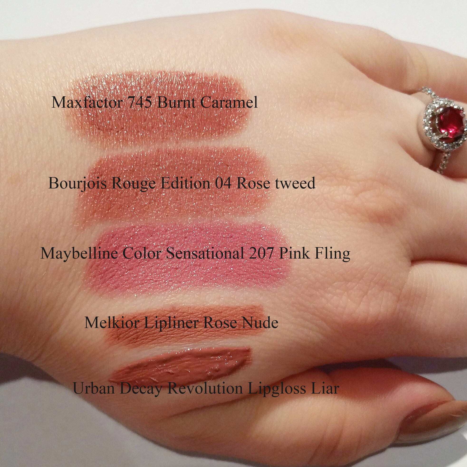 swatches maxfactor burnt caramel maybelline pink fling bourjois rouge edition rose tweed melkior urban decay revolution lipgloss liar - beautyandatwist