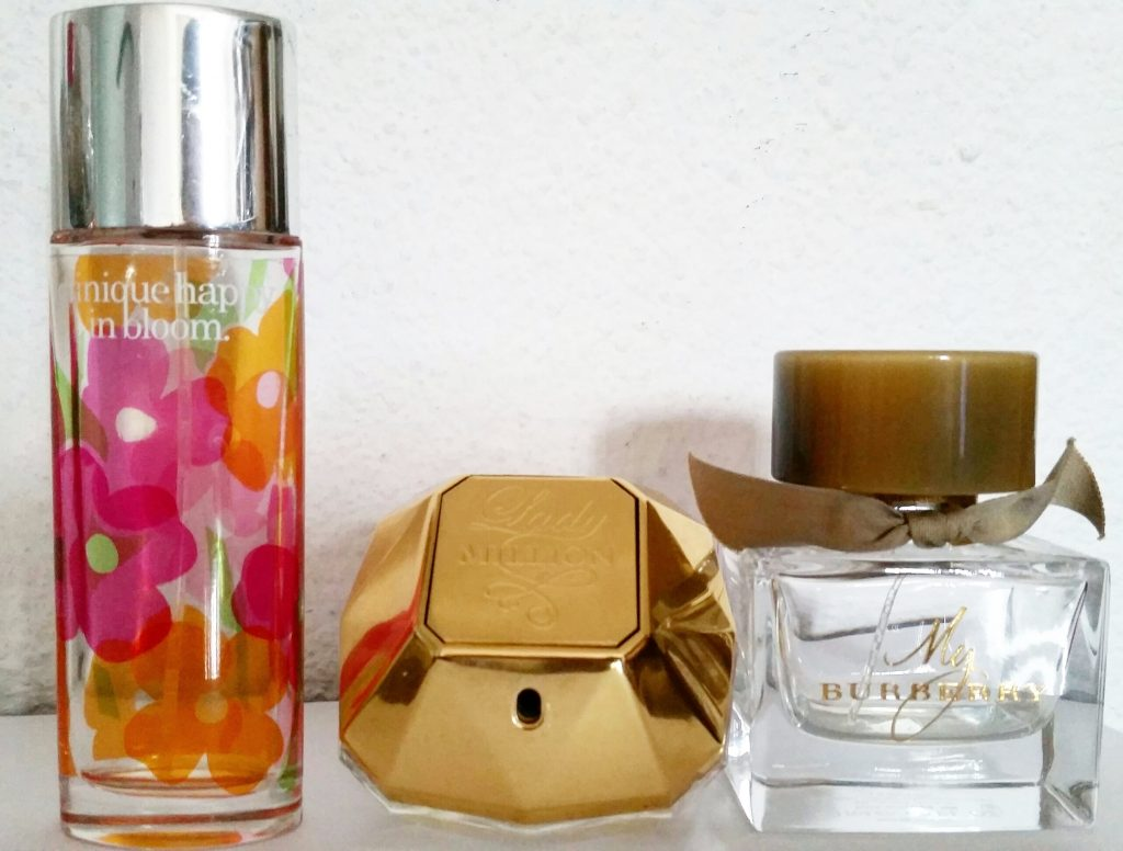 Empties-beautyandatwist happy in bloom clinique lady million Paco Rabanne Burberry my Burberry