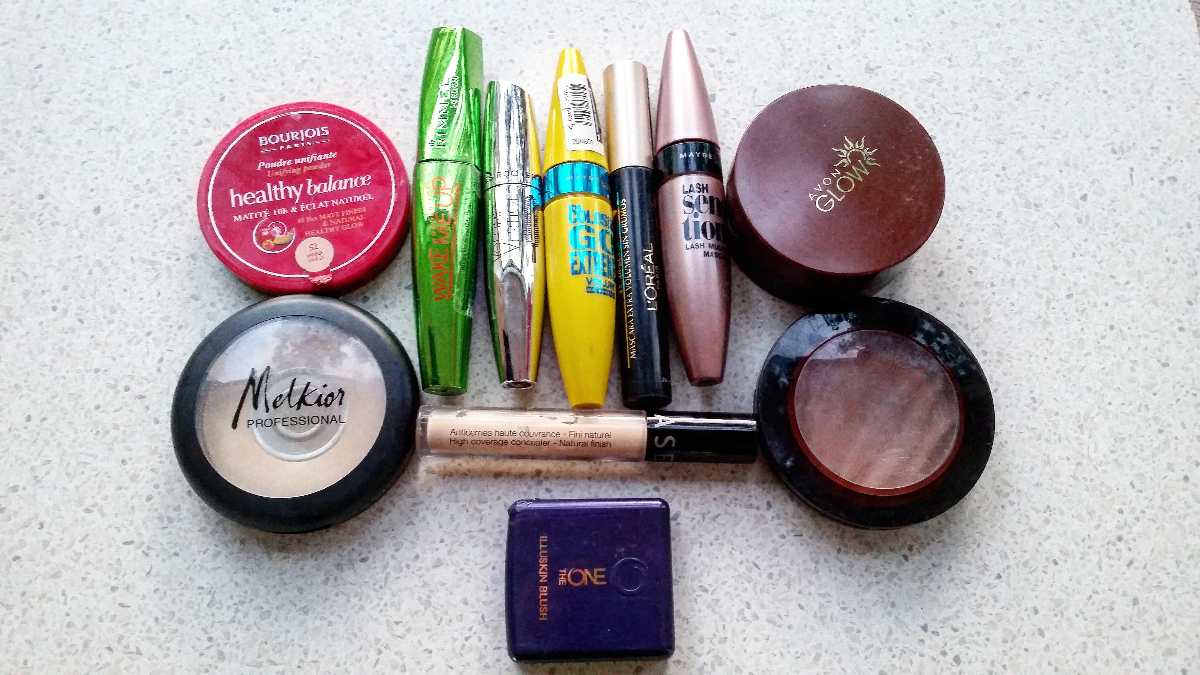 make-up empties september 2016 maybelline sephora rimmel london avon oriflame bourjois melkior l'oreal beautyandatwist
