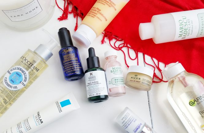 skincare-beautyandatwist-kiehls-midnight-recovery-concentrate-clarins-mario-badescu-glycolic-toner-nuxe-reve-de-miel-loccitane-ivatherm-una